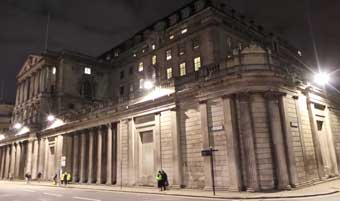 The Bank of England seen by night.