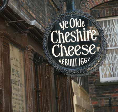 The pub sign of Ye Olde Cheshire Cheese.