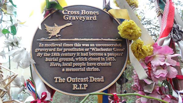 The sign for the Crossbones burial ground.