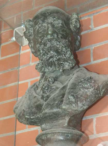 The bust of Charles Dickens at Furnival's Inn.