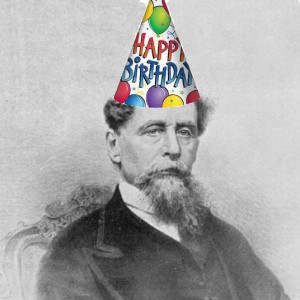 Charles Dickens wearing happy birthday hat!