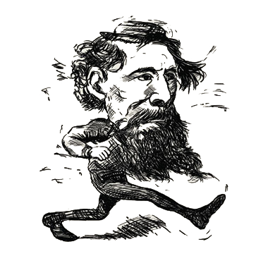 A caricature of Charles Dickens Walking