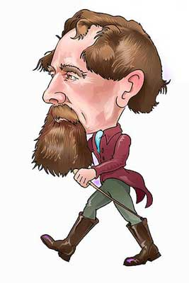 An image of Charles Dickens walking.