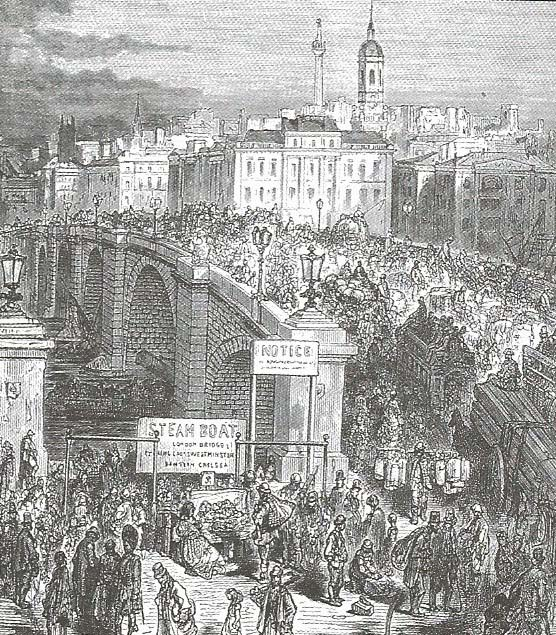 London Bridge in Dickens day.