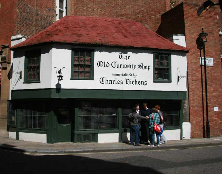 The exterior of the Old Curiosity Shop.