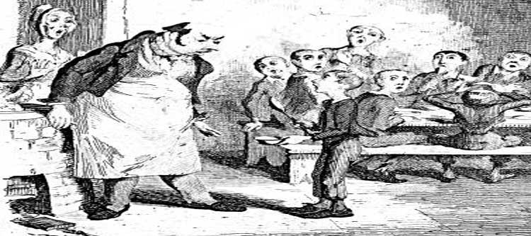 The illustration showing Oliver Twist asking for more.