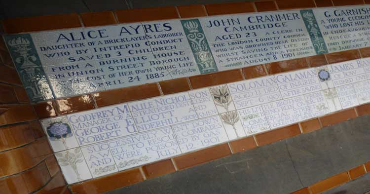 Some of the plaques from the memorial in Postman's Park.