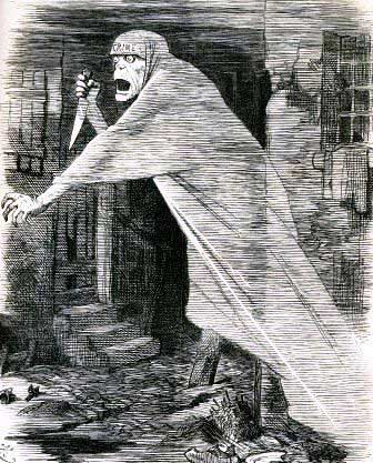 The Punch cartoon The Nemesis of Neglect showing Jack the Ripper as a knife wielding shrouded ghoul.