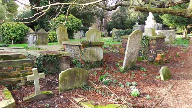 Tombs and gravestones in St John's churchyard, Hampstead.