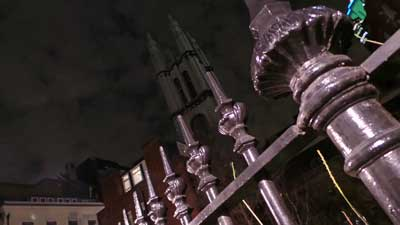 The railings and church tower of St Michael's.