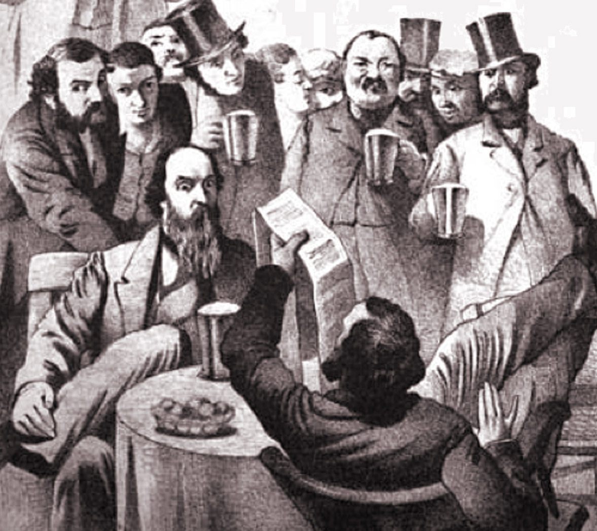 A group of Victorian men drinking in an old pub.